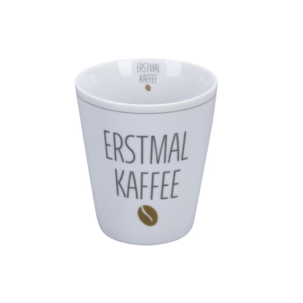 Krasilnikoff Happy Mug Erstmal Kaffee Trinkbecher ohne Henkel