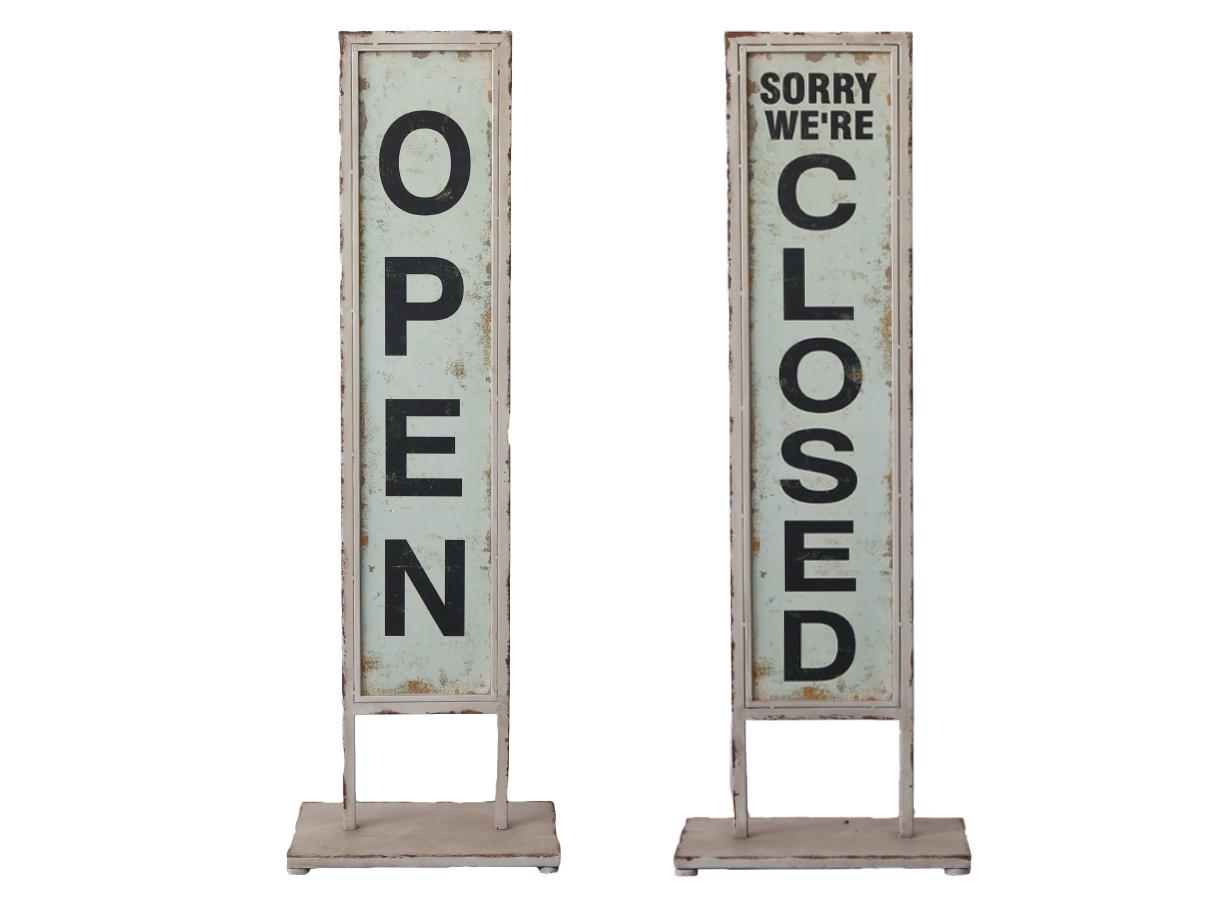 Chic Antique Schild auf Fuss Open/Close