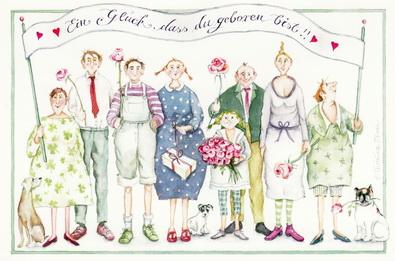 """Christina Thrän Postkarte """"Ein Glück dass du geboren bist"""""""