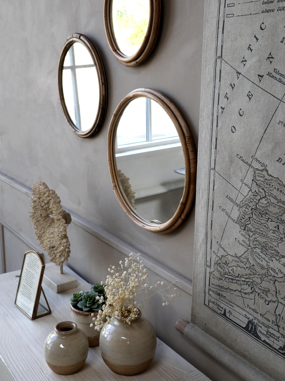 Chic Antique Spiegel rund mit Bambusrahmen  33 cm