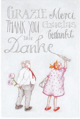 "Christina Thrän Postgarte ""Danke, Grazie, Thank you"""
