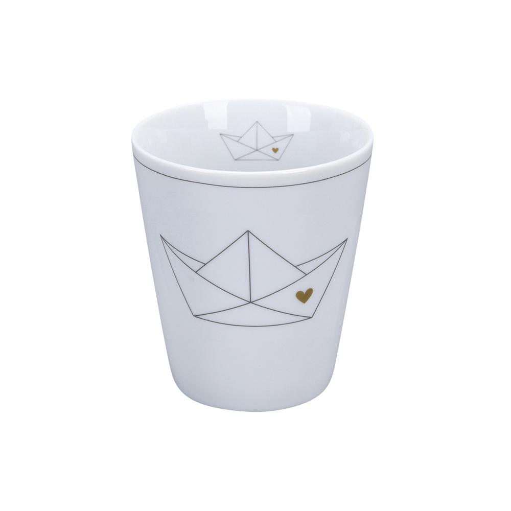 Krasilnikoff Happy Mug Papierbötchen mit Herz Trinkbecher ohne Henkel