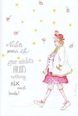 """Christina Thrän Postkarte """"Nichts muss ich, gar nichts"""""""