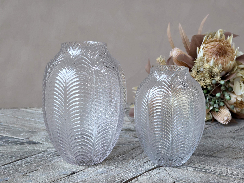 Chic Antique Vase mit Blattmuster 1 Stück Glas
