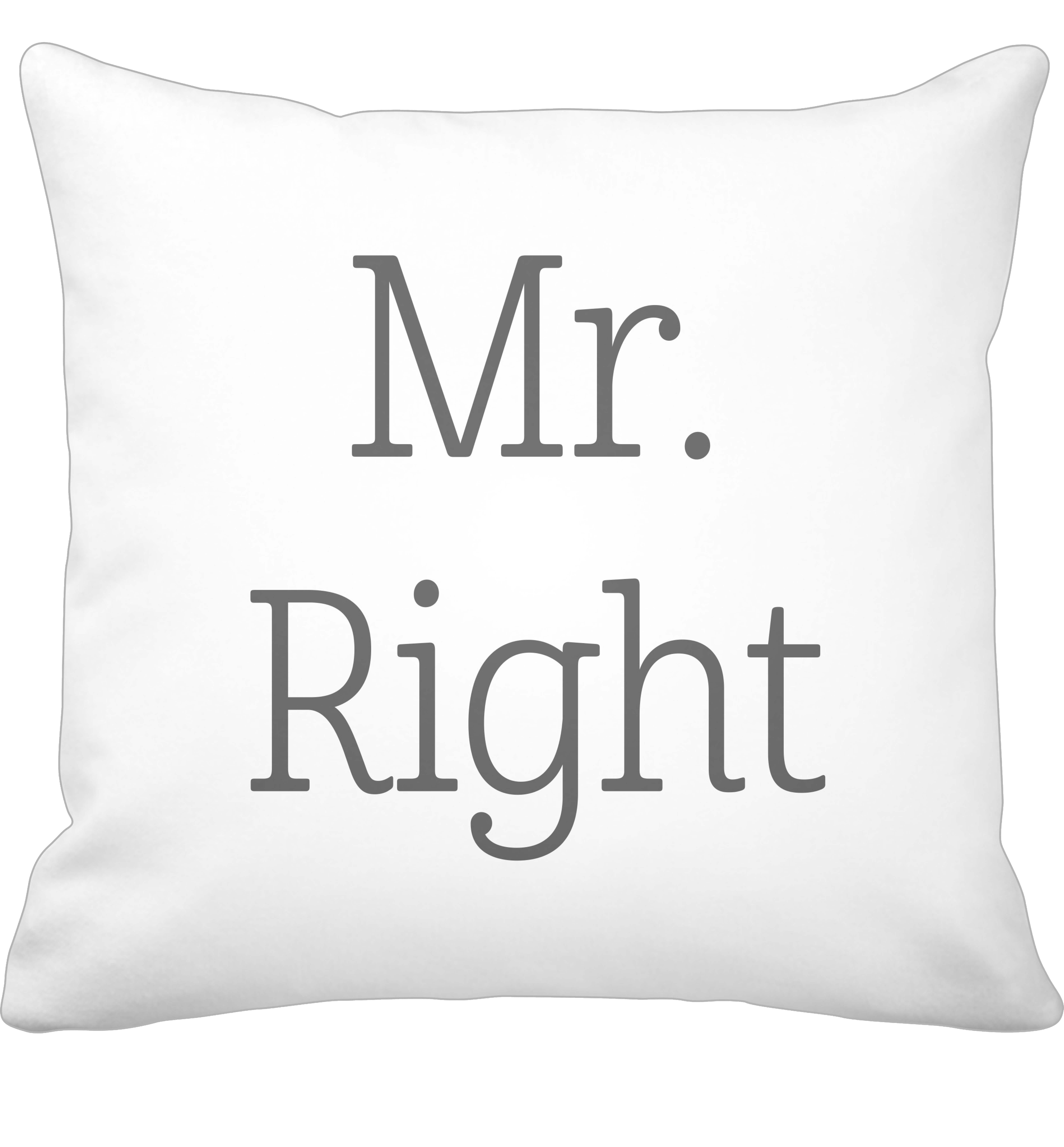 Krasilnikoff Kissenbezug Mr. Right 50x50 cm weiß