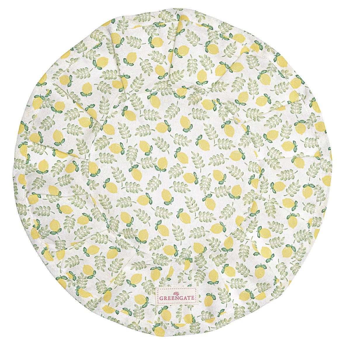 "Greengate rundes Brötchenkorbtuch ""Limona petit white"""