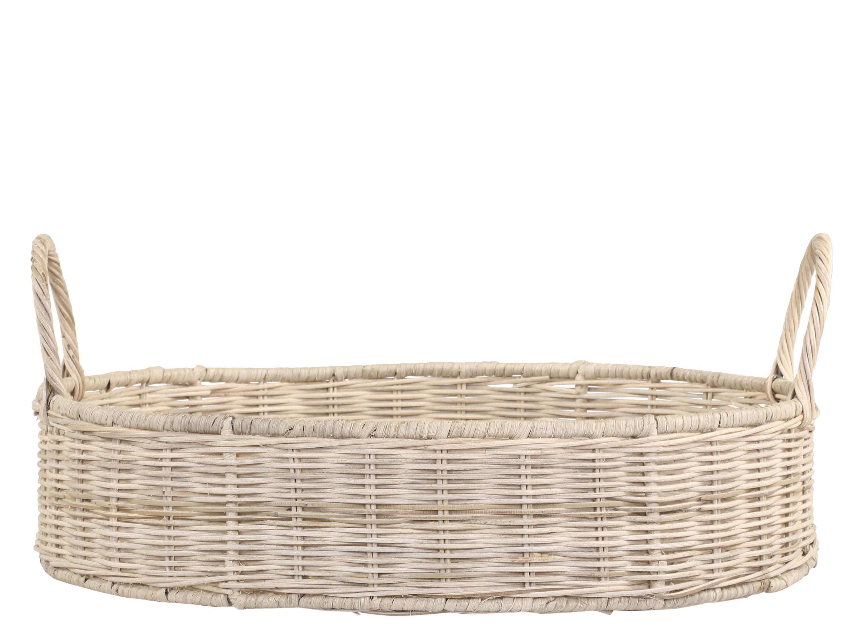 Chic Antique Tablett rund geflochten mit Griffen klein