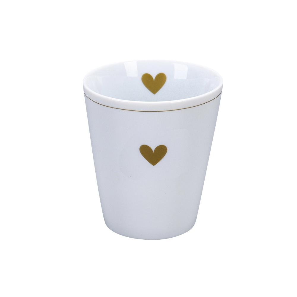 Krasilnikoff Happy Mug Heart of gold Trinkbecher ohne Henkel