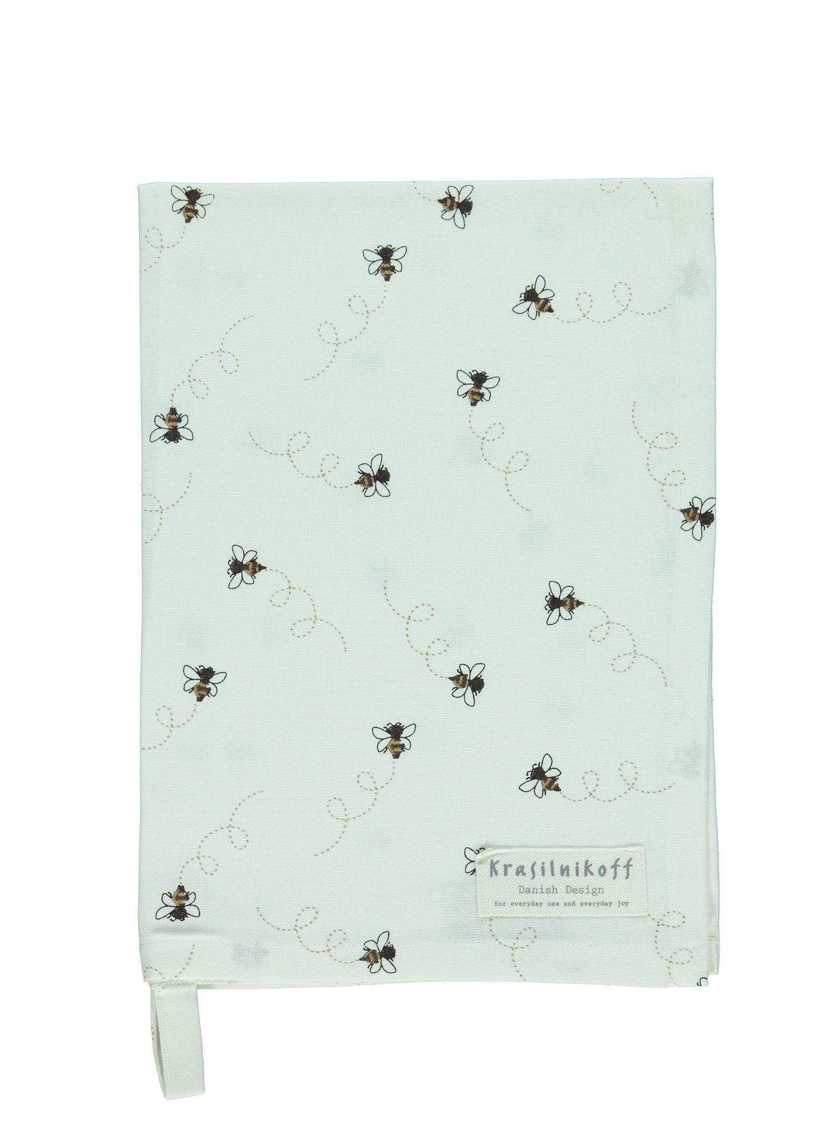 Krasilnikoff Geschirrtuch Flying Bees weiß