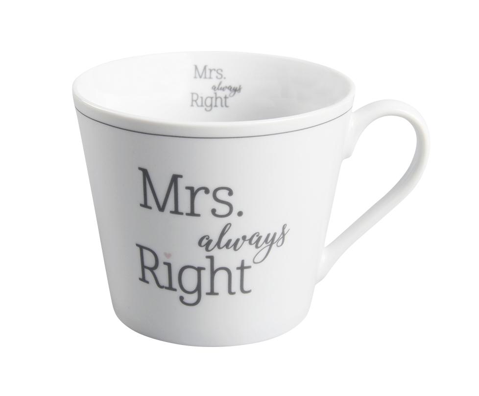 """Krasilnikoff Happy Becher """"Mrs. always right"""""""