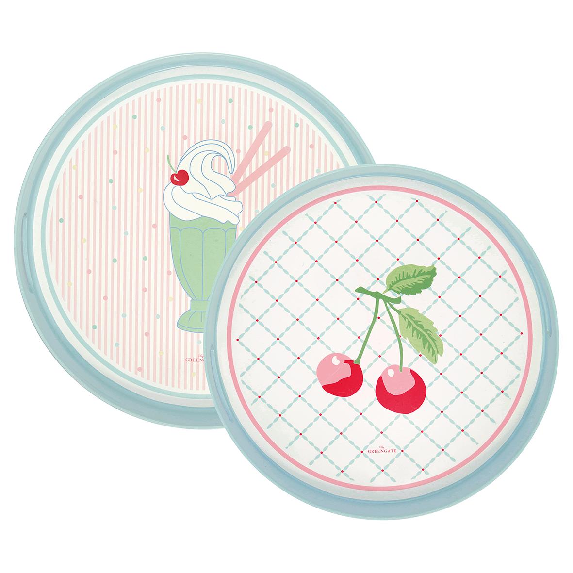 Greengate Tablett rund Isa pale pink mit Kirschmuster klein