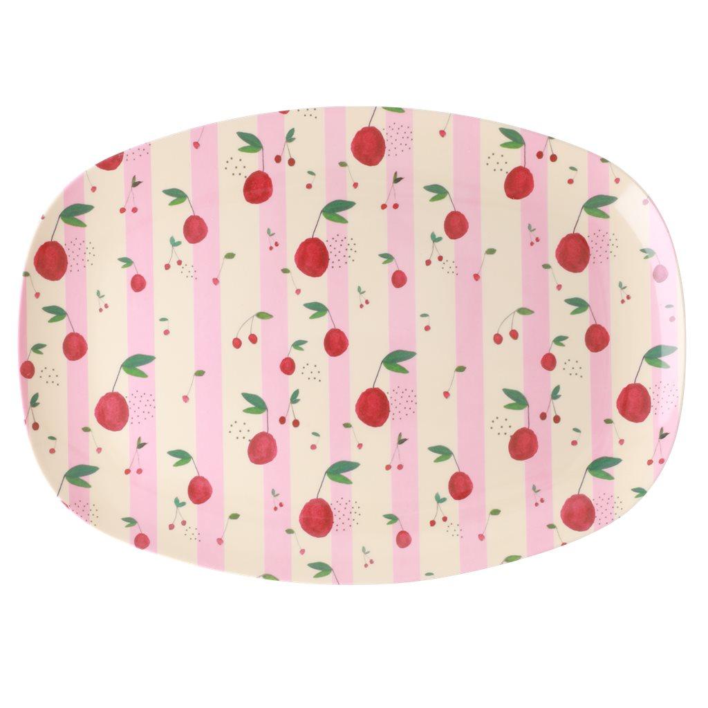 """RICE Melamin ovaler Teller """"Cherries and stripes"""" gross"""