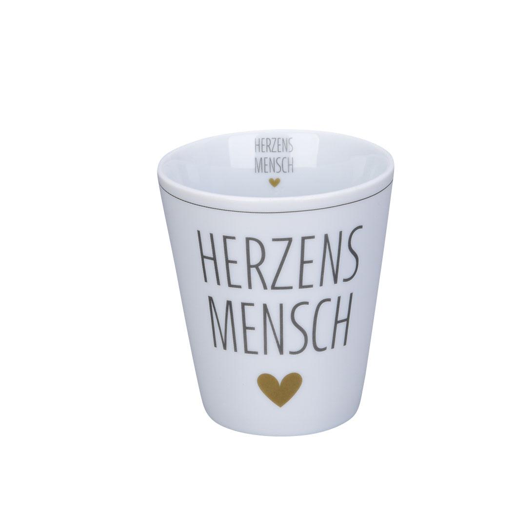 Krasilnikoff Happy Mug Herzensmensch Trinkbecher ohne Henkel