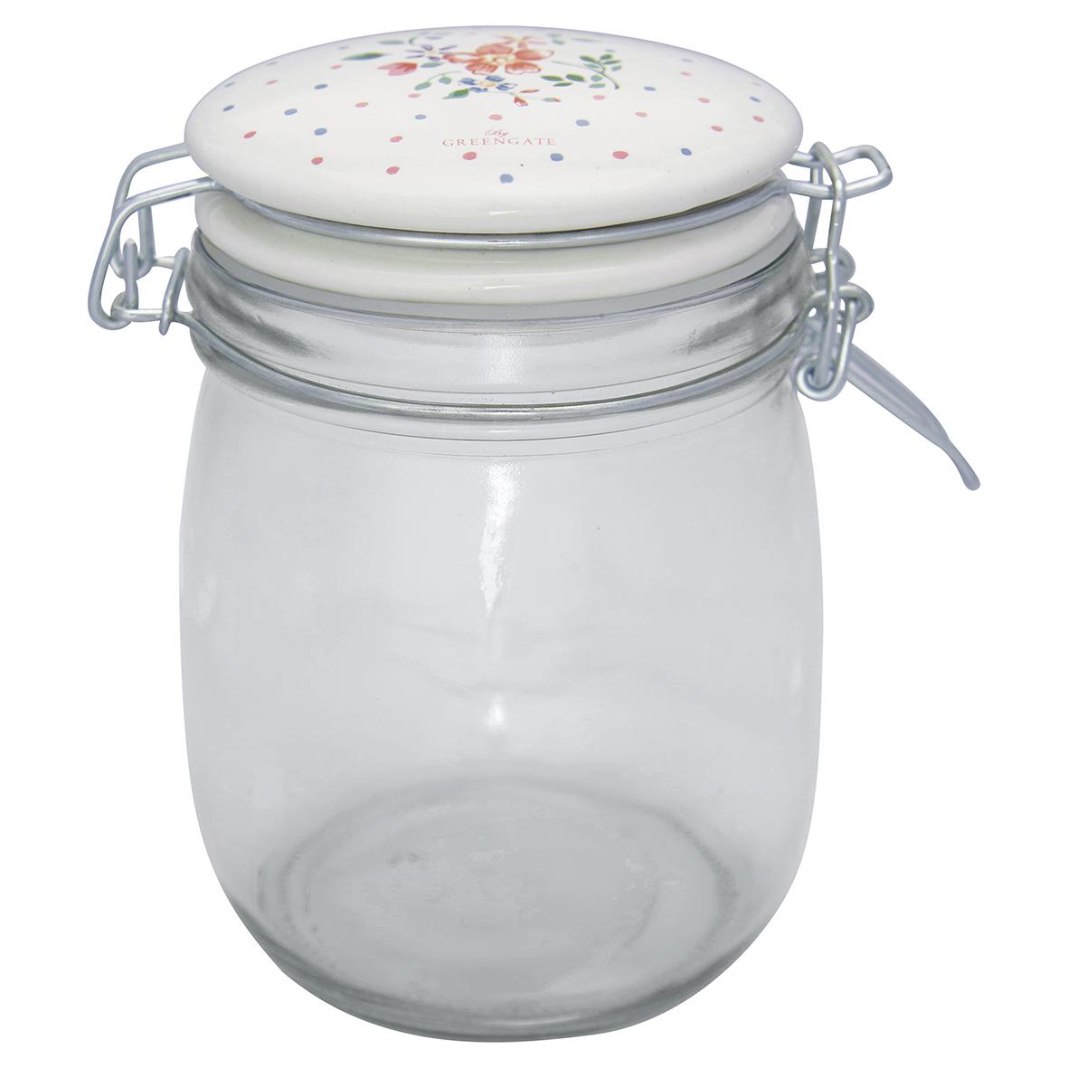 Greengate Aufbewahrungsglas Belle white 0,75L