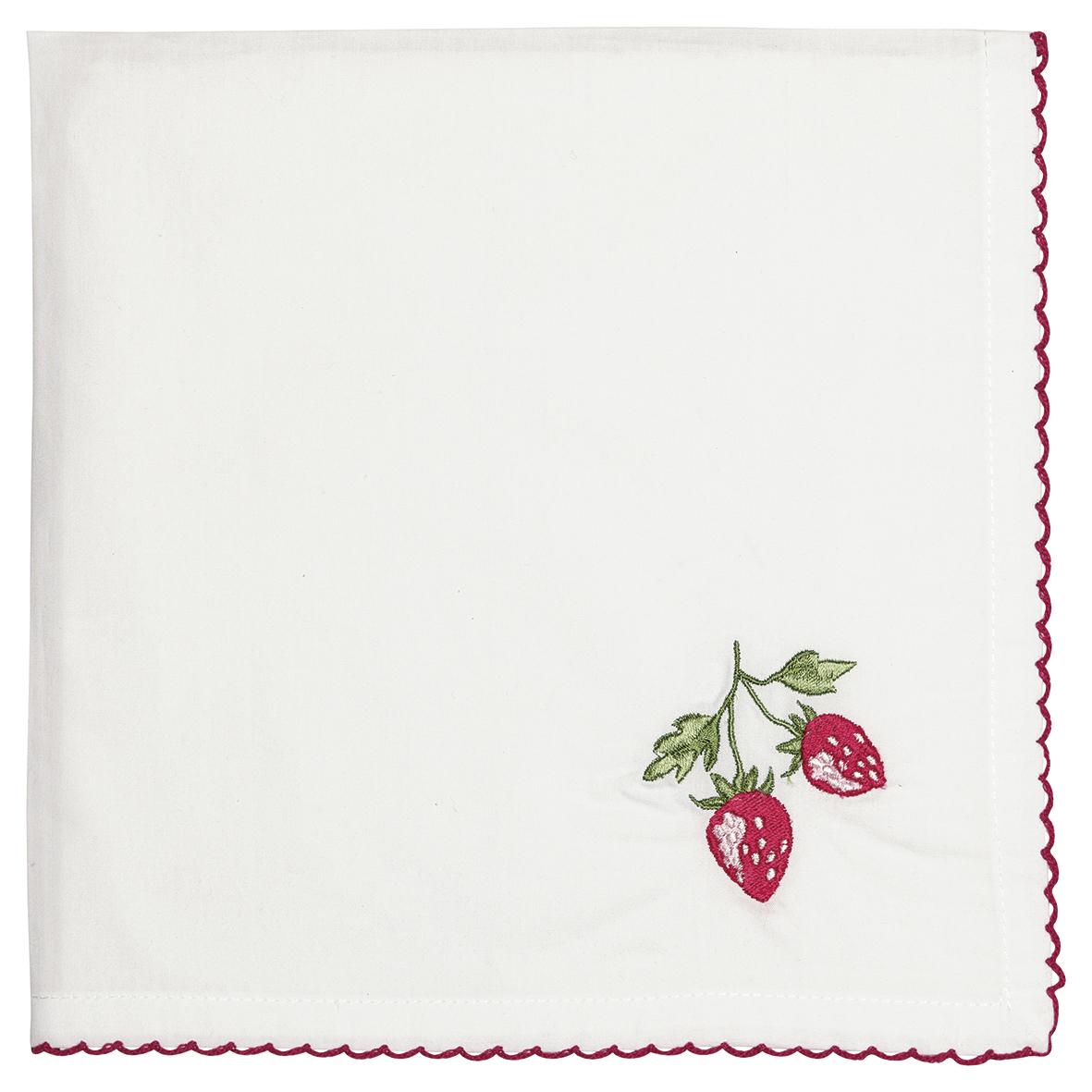 Greengate Stoffserviette Strawberry red mit Stickerei