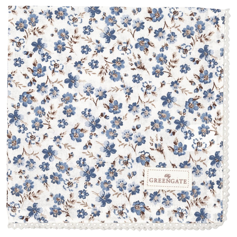 Greengate Stoffserviette Marie petit dusty blue mit Spitzenrand 40 x 40 cm Limitierte Kollektion