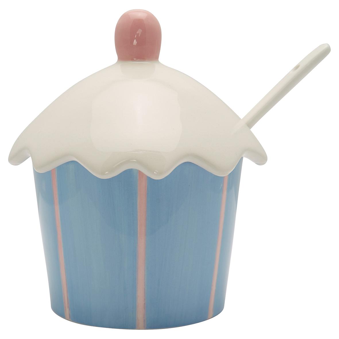 GreengateZucker/ Marmeladenbehälter mit Löffel Stripe pale blue