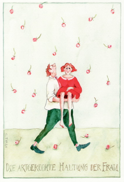 "Christina Thrän Postkarte ""Die artgerechte Haltung der Frau"""
